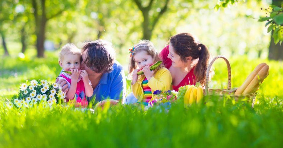 rodzina na trawie - posiłek