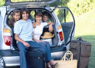 rodzina, wycieczka, samochód, wakacje, wyjazd z dzieckiem