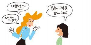 Rozmowa dziecka z kobietą, kobieta, dziecko, rozmowa, grafika