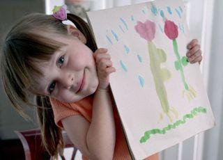 rysowanie, dziecko, przedszkolak, dziewczynka, obrazek, kredki