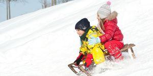 sanki, zima, śnieg, dzieci