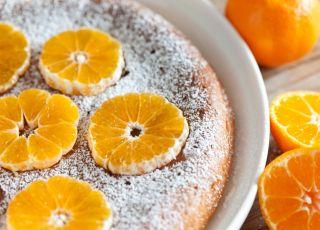 sernik, placek, ciasto, ser, twaróg, owoce, mandarynki, mandarynka, pomarańcza