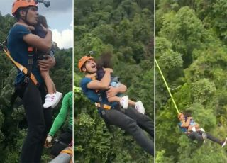 Skok na bungee z dzieckiem