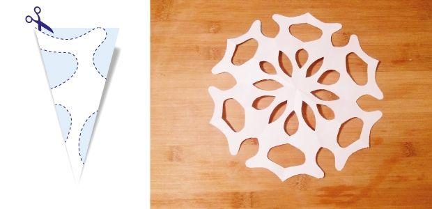 śnieżynki z papieru wzór 1