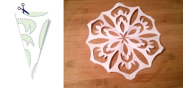 śnieżynki z papieru wzór 6