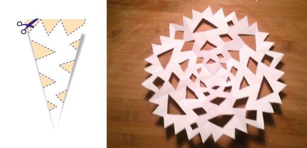 śnieżynki z papieru wzór 3