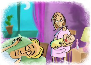 Śpiąca i zmęczona matka