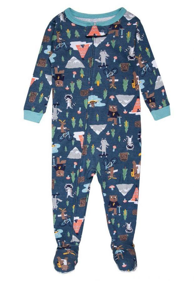 zwierzaki na piżamce niemowlęcej super modne ubranka