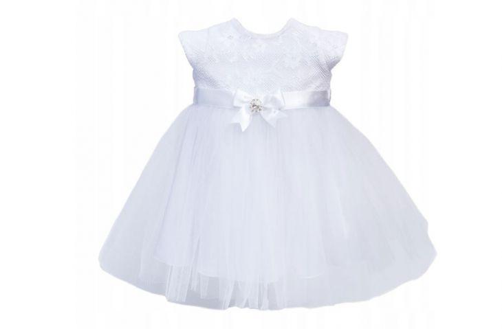 Sukienka do chrztu z kokardką