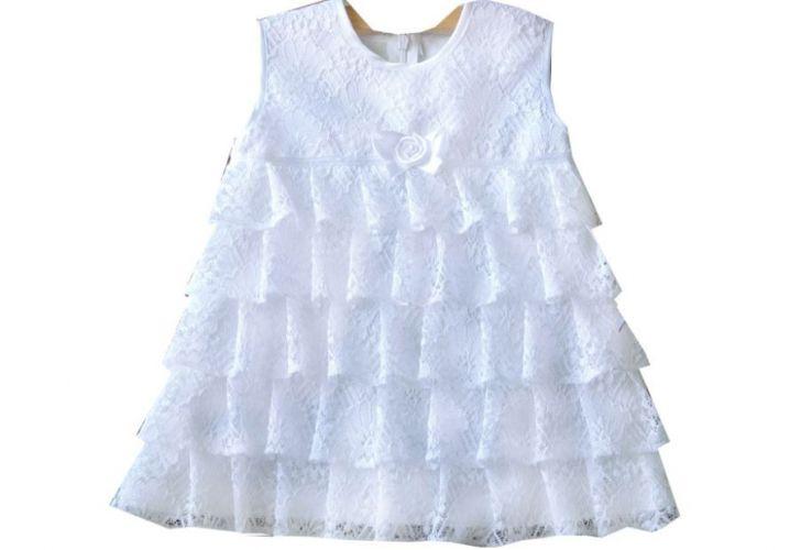 Sukienka do chrztu z falbankami