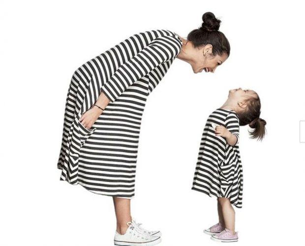 sukienka w paski dla mamy i córki