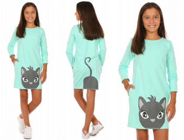 sukienka dla dziewczynki z kotem