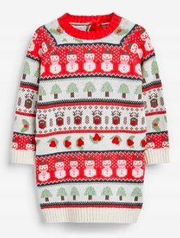 Długi sweter z bałwankami