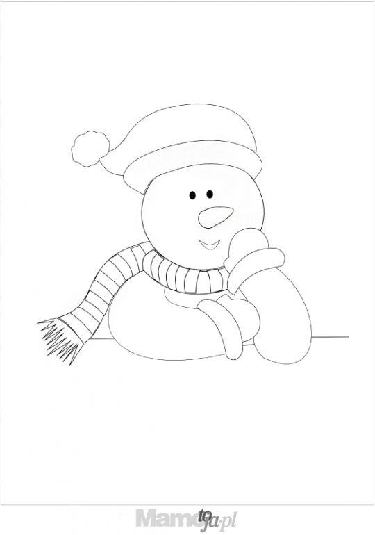 uśmiechnięty bałwanek - kolorowanki Boże Narodzenie