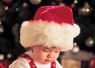 święta, Boże Narodzenie, niemowlę, przezent, choinka