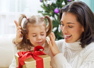 święta, prezent, dziecko, mama