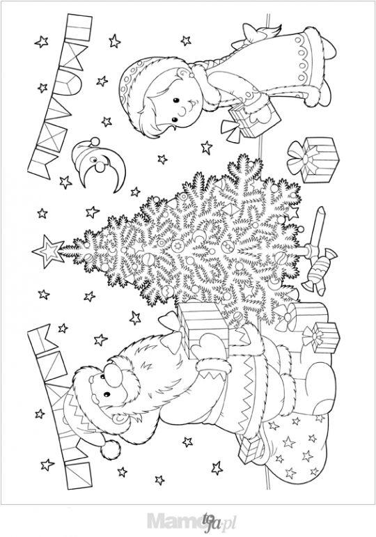 Mikołaj przy choince kolorowanka