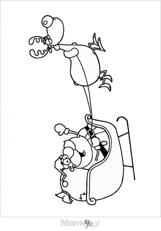 Mikołaj w saniach kolorowanka
