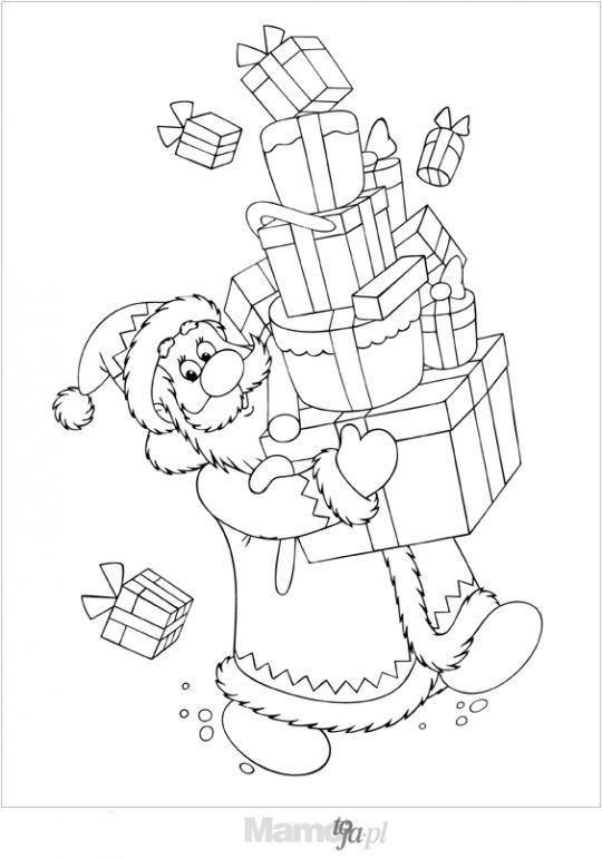 Mikołaj niesie prezenty kolorowanka