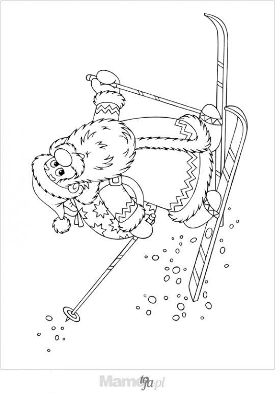 Mikołaj na nartach kolorowanka