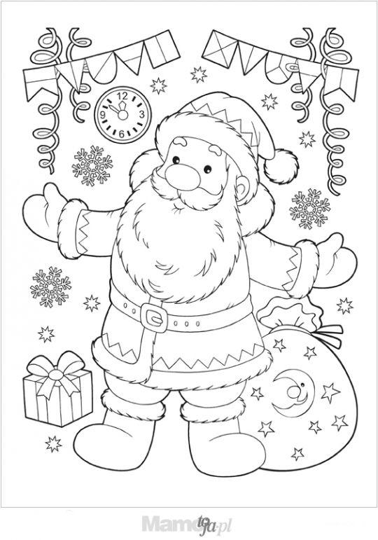 Uśmiechnięty Mikołaj kolorowanka