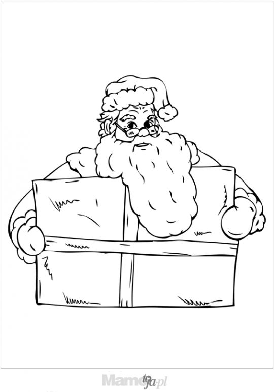 Mikołaj z prezentem - kolorowanka