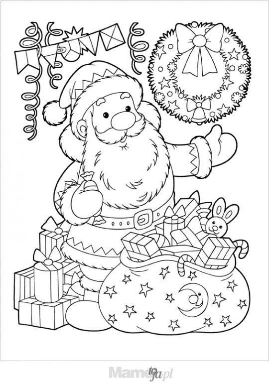 Kolorowanki Z Mikolajem Na Boze Narodzenie Do Druku Mamotoja Pl