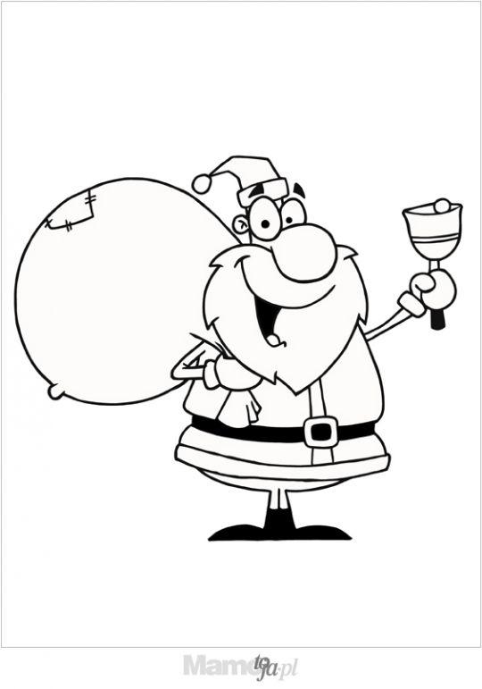Mikołaj z dzwonkiem kolorowanka
