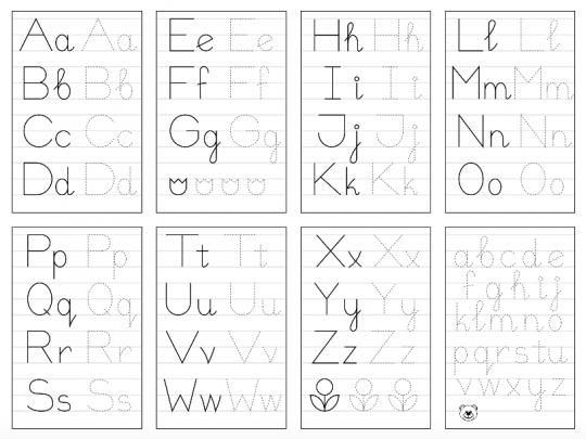 szablony liter do druku do nauki pisania