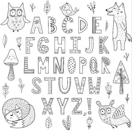 szablony liter do druku kolorowanka ze zwierzętami