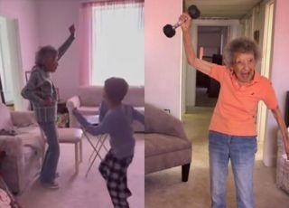 sześciolatek ćwiczył z prababcią