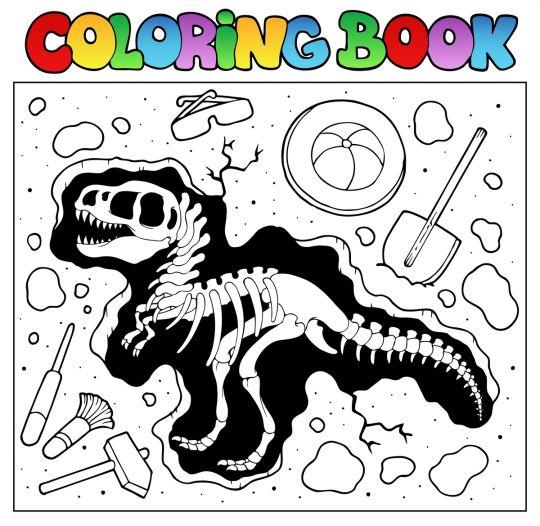 dinozaury kolorowanki szkielet dinozaura na wykopaliskach