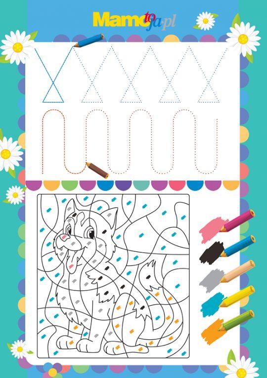 Szlaczki do druku i mozaikowa kolorowanka