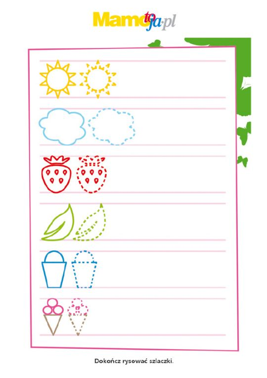 Szlaczki do druku: słoneczka i chmurki