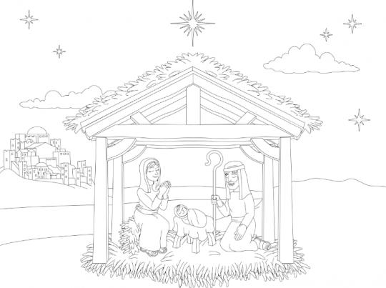szopka bożonarodzeniowa kolorowanka prosta