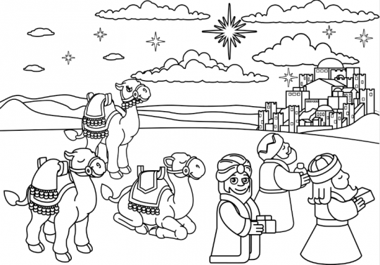 szopka bożonarodzeniowa kolorowanka trzej królowie w drodze