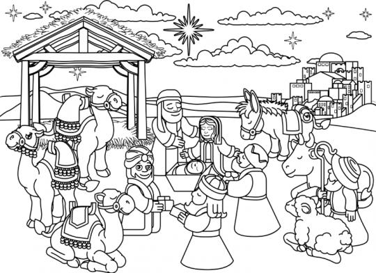 szopka bożonarodzeniowa kolorowanka trzej królowie przy szopce