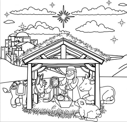 szopka bożonarodzeniowa kolorowanka z tłem