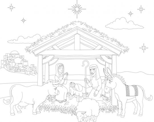 szopka bożonarodzeniowa kolorowanka prosta ze zwierzętami