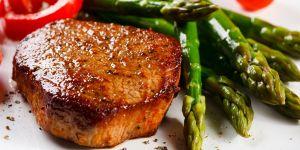 szparagi, mięso, stek, kotlet