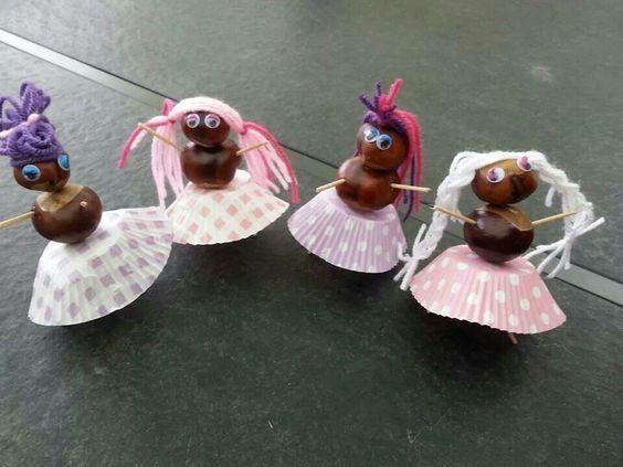 kasztany prace plastyczne: tancerki z kasztanów