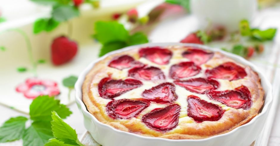 tarta, placek, ciasto, truskawki