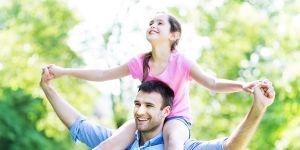 tata, córka, park