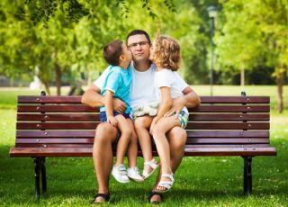 tata, dzieci, ławka, park,