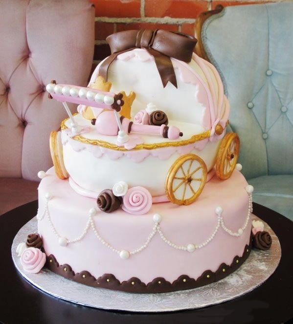 tort, babyshower, tort dla ciężarnej, tort wózek