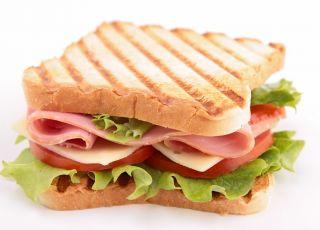 tost, kanapka, pieczywo, szynka, sałata,