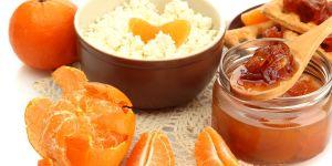twarożek, biały ser, mandarynki, owoce, danie, śniadanie