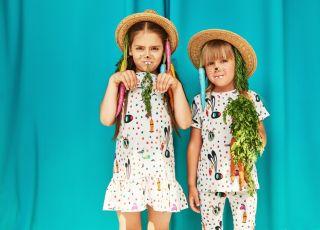 ubrania w zajączki, króliczki, marchewki - kolekcja dla dzieci Raspberry Republic