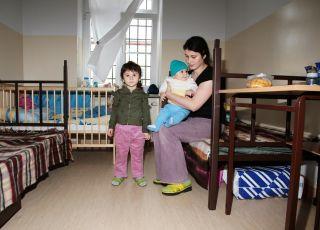 Uchodźcy czeczeńscy z obozu dla uchodźców w Przemyślu