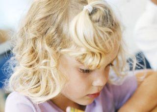 uczeń, szkoła, pisanie, dziewczynka, ołówek